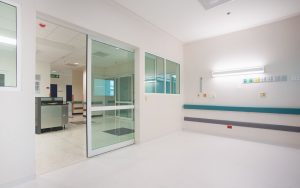 Sliding door in reception area of hospital
